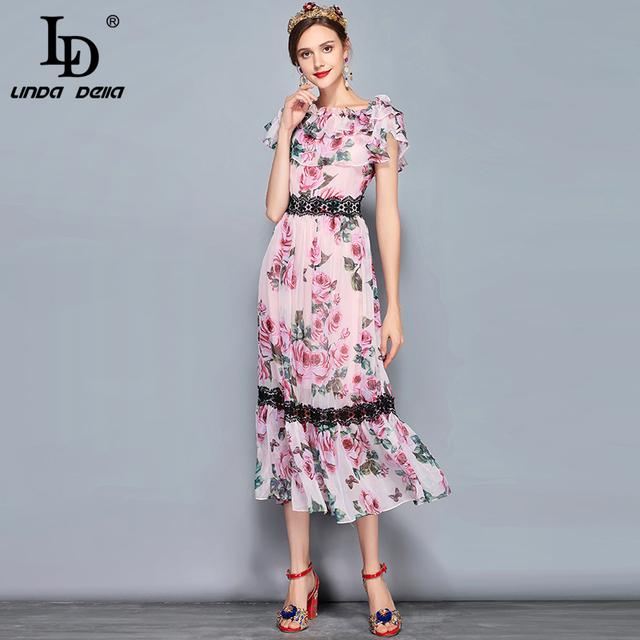 Women's Short Sleeve Lace Patchwork Chiffon Elegant Rose Floral Printed Long Dress