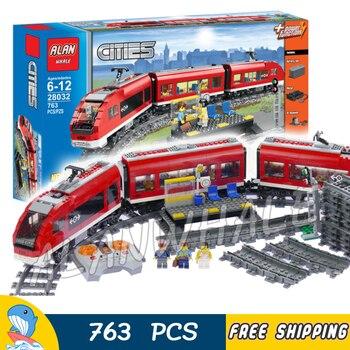 762pcs City Remote Control Motorized Passenger Train Locomotive 28032 Model Building Blocks Assemble Toys Compatible With Lago