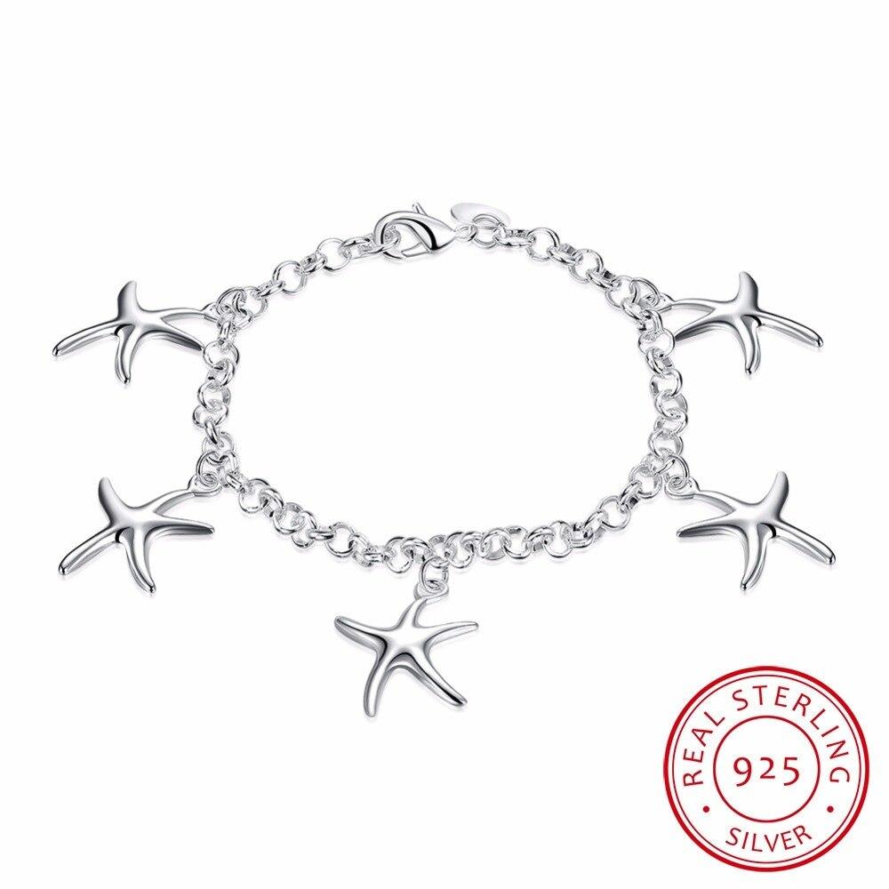 Lekani Christmas Gift 925 Sterling Silver Bracelet Fine Jewelry,925 Sterling Silver Five Star Fish Charms Bracelets Pulseira