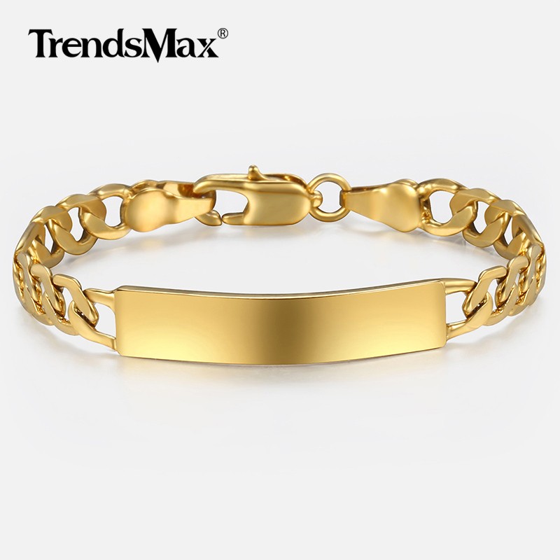 Trendsmax Gold Filled Figaro Chain Smooth Bangle Link