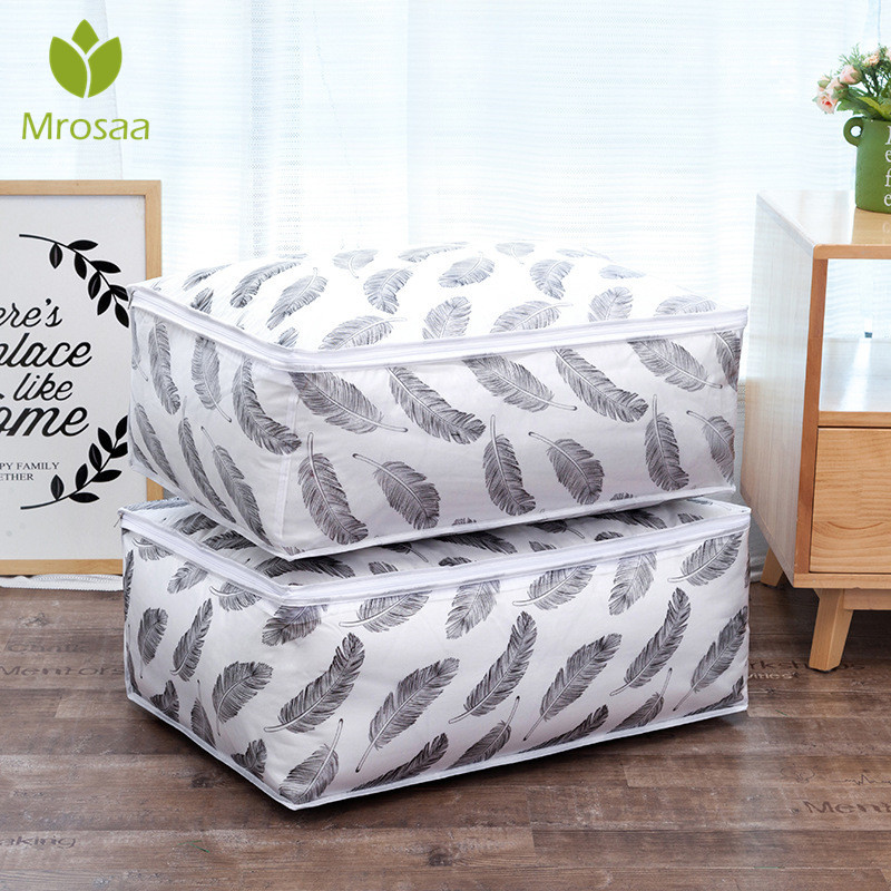 Quilt Storage Bag Feather Shape Home Clothes Quilt Pillow Blanket Storage Bag Travel Luggage Organizer Bag Clothing Wardrobe|Foldable Storage Bags| |  - title=