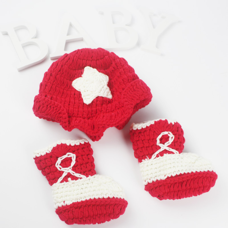 Newborn crochet knit star red cap cowboy photography for newborn baby props beanies + boots infant photo props accessories