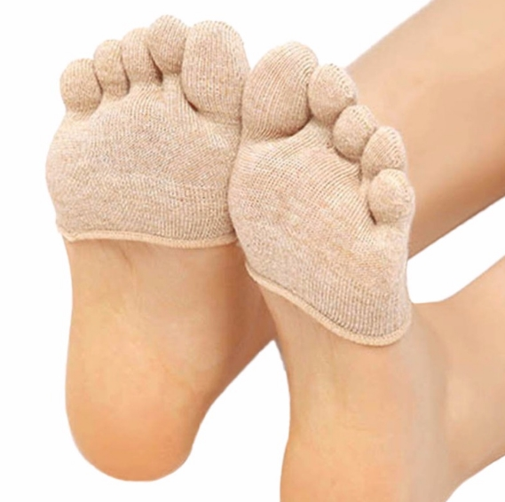 Forefoot Cover Pad Toe Sock Half Grip Heel Invisible Five Finger Socks Black