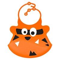 Bibs soft silicone baby and toddler bib with crumb catcher-Orange