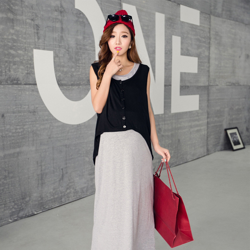 2016 Cotton Broadcloth Full Round Neck Solid Natural Color New Maternity Skirt Nursing Dress Summer Long Code Two Set