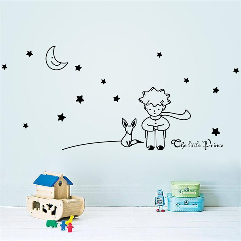 HTB1nUQsMpXXXXaMXpXXq6xXFXXXo - popular book fairy tale the Little Prince With Fox Moon Star wall sticker for kids room