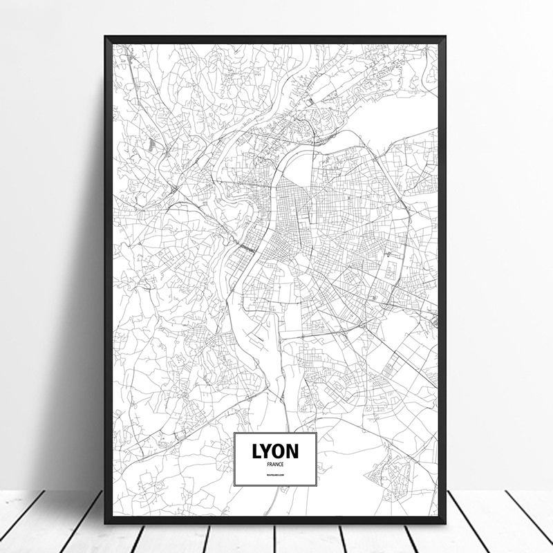US $11.98  Lyon, France Black White Custom World City Map Poster Canvas  Print Nordic Style Wall Art Home Decor-in Painting & Calligraphy from Home  & ...