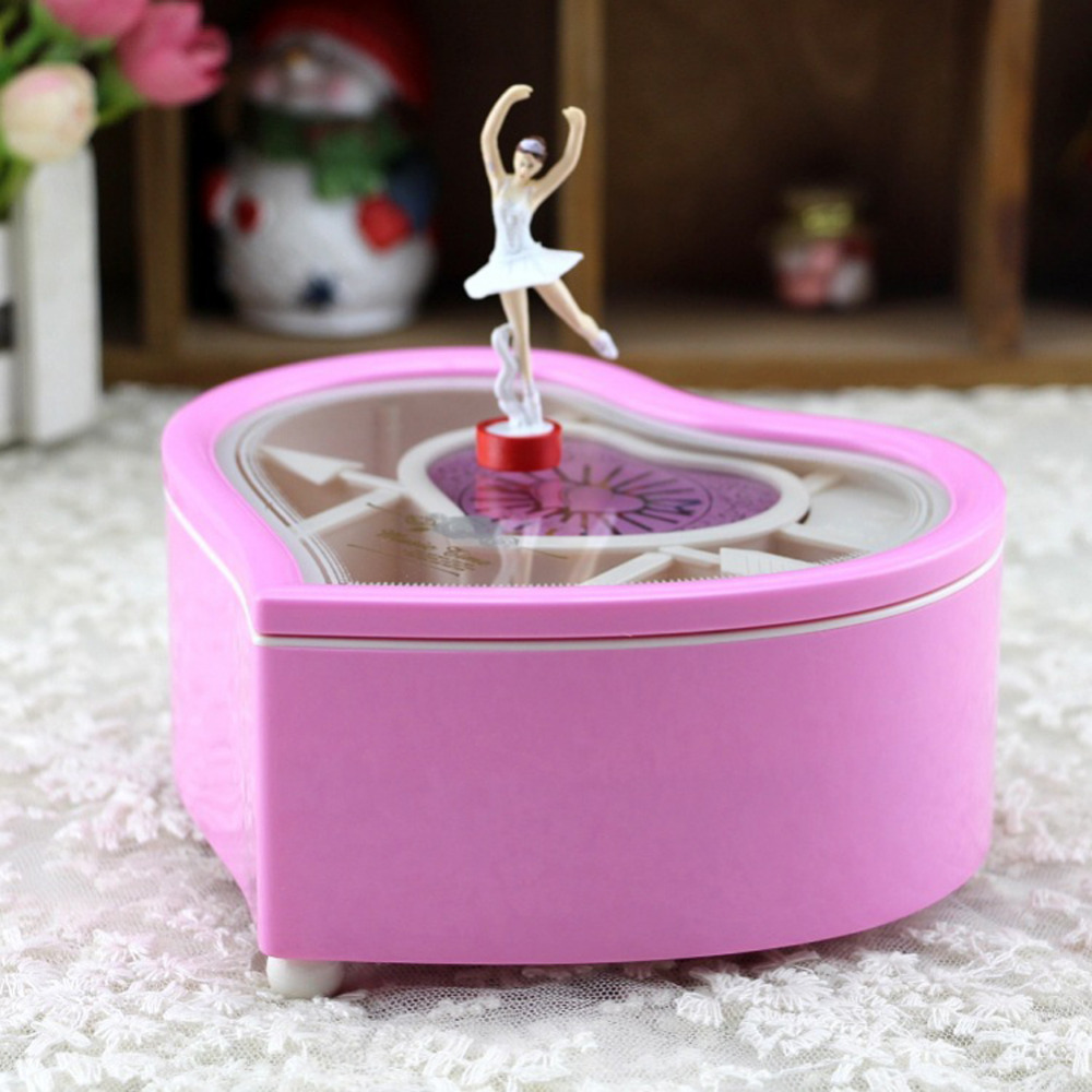Heart Shape Dancing Ballerina Music Box Wooden Mechanical -2101