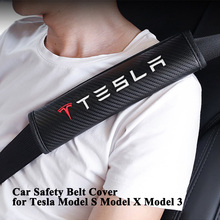 1 pair Styling Car Safety Belt Cover Shoulder Protector Seat Pad Carbon Fiber Sporty for Tesla Model S X 3