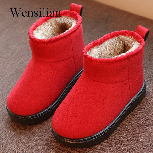 87b086af59671 Winter Girls Boots Snow Ankle Boots Kids Shoes Warm Plush Soft Baby Botte  Enfant Fille Flock