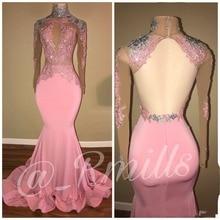все цены на Mermaid Pink Prom Dress 2018 High Neck Sheer Long Sleeves Backless Evening Gowns онлайн
