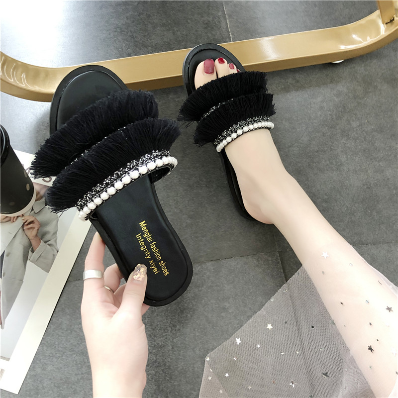 HKJL 2019 summer new Korean version outside wearing crossed monocoque slippers female beaded casual tassel flat slippers A501 in Slippers from Shoes