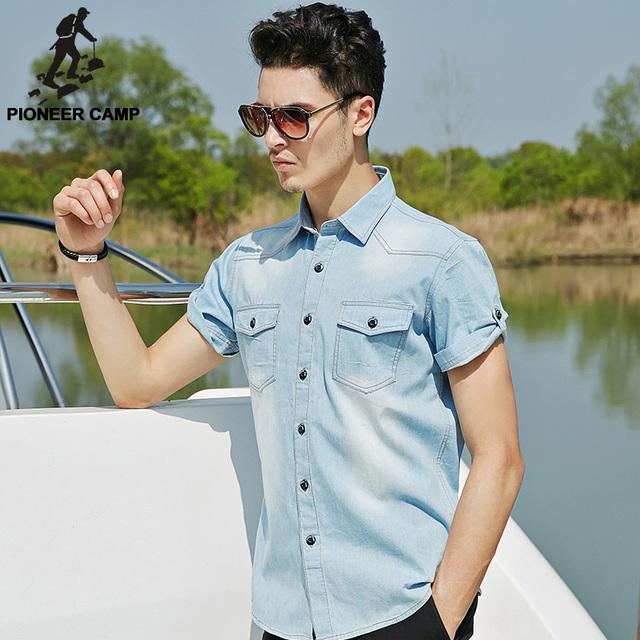 Pioneer camp 2017 denim verano camisa de los hombres camisa de algodón suave y cómodo de los hombres pantalones vaqueros rectos de luz azul camisa casual masculino 555002