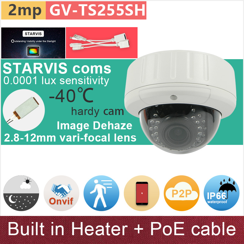 SONY STARVIS IMX291#Built in heater#PoE cable kit + IP camera 2mp 1080P starlight CCTV camera outdoor dome GANVIS GV-TS255SH pk sony starvis built in heater poe cable kit ip camera 1080p full hd 2mp starlight cctv camera outdoor dome ganvis gv ts255vh pk