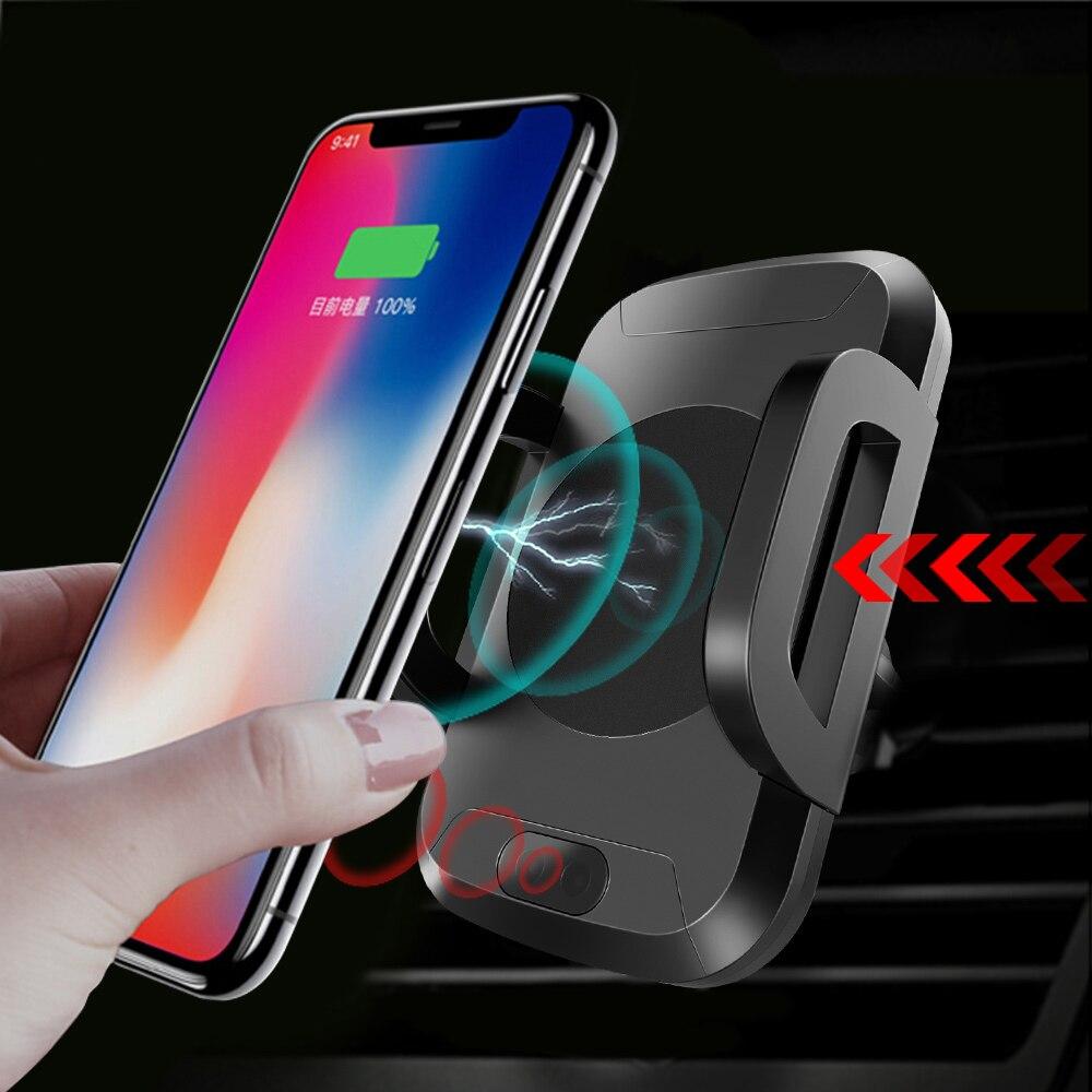 Halsanr support pour voiture téléphone pour iPhone 8 Plus X Samsung S8 S9 Note 8 9 chargeur voiture montage Qi sans fil chargeur rapide Pad Auto ouvert