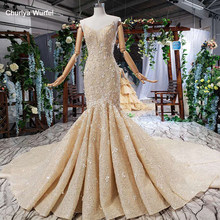 HTL556 luxury mermaid wedding dress with cape high-end spaghetti straps trumpet princess bridal dress vesrido de noiva sereia(China)