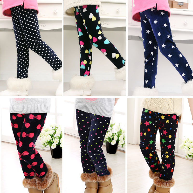 Casual Winter girls Pants leggings Warm Cartoon Heart Cat trousers Children Pants-in Pants from Mother & Kids on AliExpress