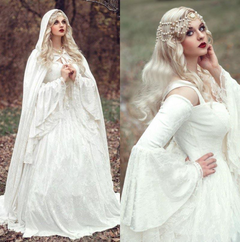 Gothic Medieval Wedding Dresses Vintage Long Bell Sleeve Bridal Gowns Plus Size