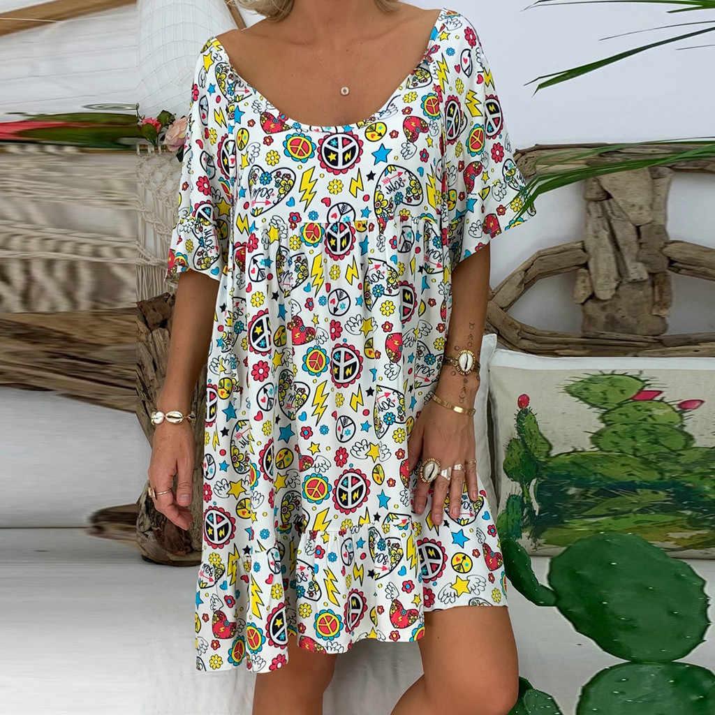 JAYCOSIN 5XL elbise kadınlar gevşek baskı kısa kollu Mini Sundress yaz elbisesi fırfır Boho çiçek baskı Vestidos Femme artı boyutu 7