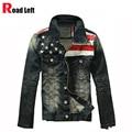 Hombres Jeans de Moda Chaquetas de Los Hombres de La Bandera Americana Denim Chaqueta de Abrigo prendas de Vestir Exteriores Para Hombre de La Motocicleta de Manga Larga Casual Tamaño 3XL