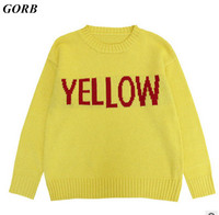 GORB 2017 Newest Autumn Winter Hot Sale Fashion Yellow Letters Women Men Lovers Long Sleeve Pullovers