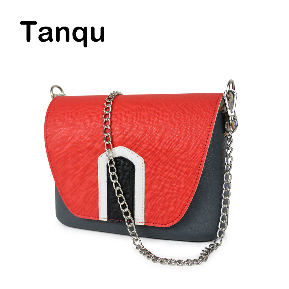 TANQU Colorful Obag Opocket Style EVA Pocket Plus Contrast Color PU Flap Magnetic Lock Fastener Long Chain with Clip Closure contrast pu grommet detail dress with necklace