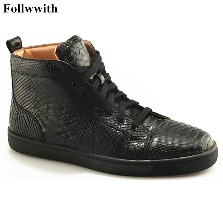 Own Brand 2017 Black Embossed Soft Leather Male Shoes Cool Trainers Zapatillas Deportivas High Top Lace Up Flat Casual Men Shoes casual dancing sneakers hip hop shoes high top casual shoes men patent leather flat shoes zapatillas deportivas hombre 61