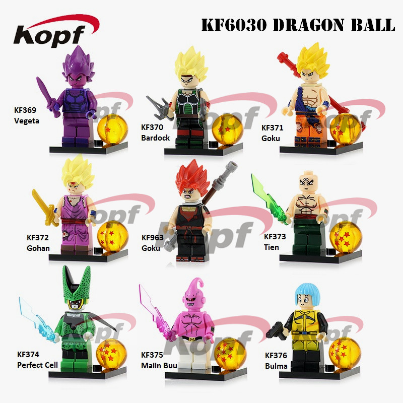 KF6030 Single Sale Building Blocks Dragon Ball Z Figures Goku Vegeta Perfect Cell Majin Buu Gohan Bulma Bardock Bricks Kids Toys jlb 33901 33906 dragon ball z son goku vegeta master roshi minifigures toys building blocks sets model bricks figures legoelieds