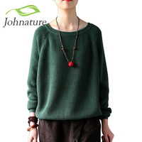 Johnature 2018 Women Warm Sweater Autumn Winter Solid Cotton Loose Knitted Casual O neck Female Pullovers Sweater