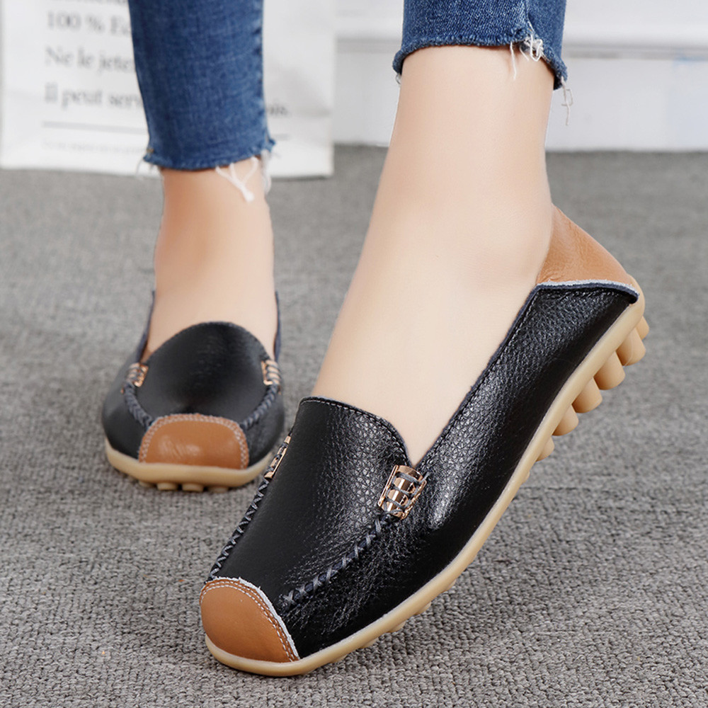 En Slip Bateau Pois Casual Plat Mou Femme Fond Mujer coffee Confortable Chaussures Plein Air De Zapatos Blue Black Sur light qfft0Rnz