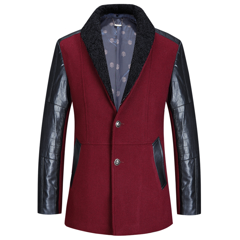 2017 Fashion stylish men coat, winter Trench coat, Leather sleeves men's mid-long slim coat woolen trench coat 190