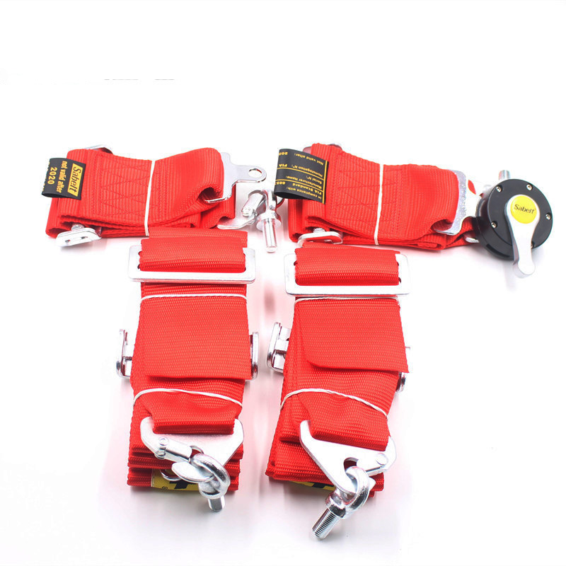 Universal Harnes strap Racing Safety Seat Belt Quick Release 3 inches 4 Points Red Seat Belt