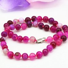 8mm natural agat rose red stripe carnelian onyx round beads necklace for women gifts hot sale chain choker jewelry 18inch B3198