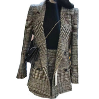 Autumn and winter Women New Plaid woolen suits jacket Plaid suit female Tweed plaid Woolen coat suit + skirt two piece suit 545
