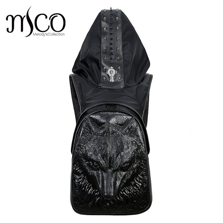 2017 Fashion Personality Wolf Embossing knife leather backpack rivets backpack with Hood cap apparel bag cross bags hiphop man image