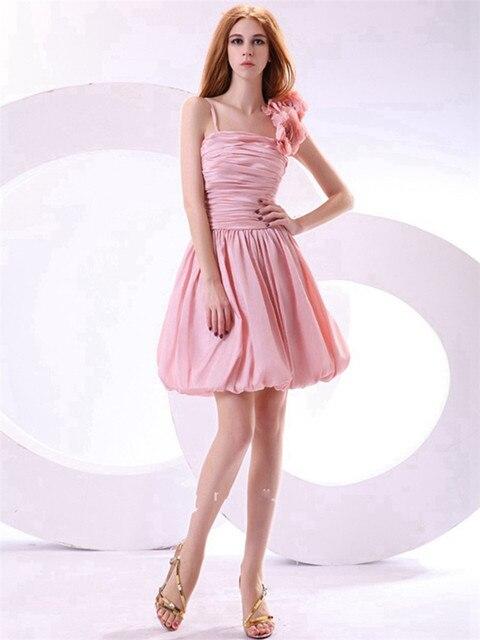 Flores / plisado octavo grado vestidos baile Cute Pink Spaghetti ...