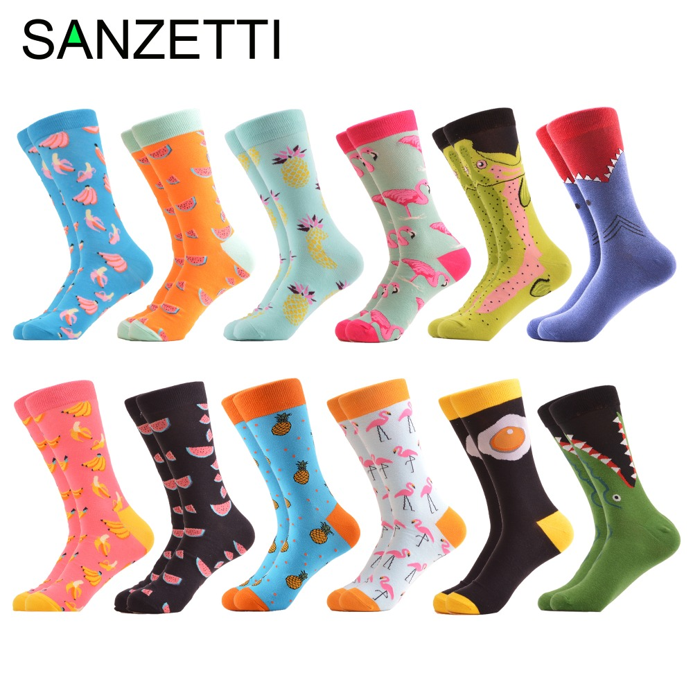 9952b5b607a1 SANZETTI 12 pairs/lot Colorful Men's Combed Cotton Casual Dress Crew Socks  Fruit Shark Pattern Novelty Skateboard Socks Gifts ~ Hot Deal May 2019