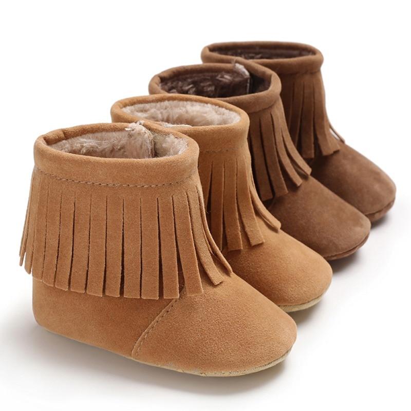 Infants Warm Shoes Tassel PU Plus Velvet Anti-slip Toddler Boots 2018 New Winter Baby Shoes Newborn Snow Booties 0-18M