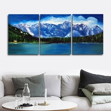 Laeacco 3 Panel Posters and Prints Sea Mountain Cloud Wall Artwork Canvas Painting Living Room Nordic Home Decoration