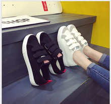 2017 spring autumn low canvas shoes fashion casual women shoes lazy brand women non-slip rubber sole HOOK&LOOP shoes