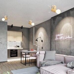 Image 3 - EL LED tavan ışık demir ahşap İskandinav Modern tavan lambası oturma odası yatak odası için dekorasyon fikstür koridor mutfak