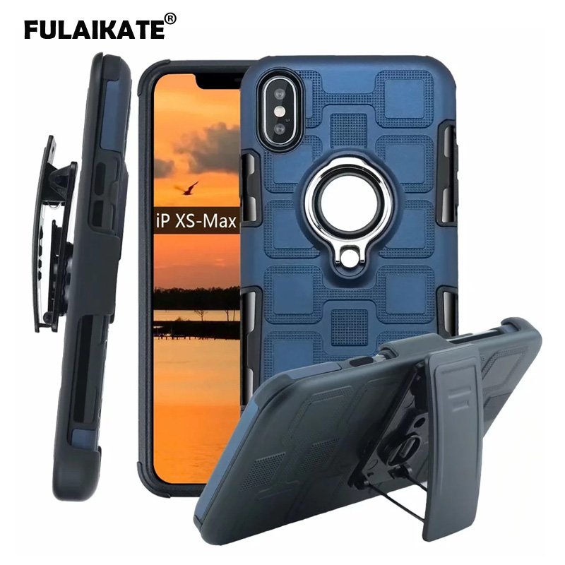 Fulaikate 3 In 1 Ring Case For Iphone Xs Max Anti-knock Waist Clip Back Cover For Iphone Xr 6s 7 8 Plus Ice Cube Phone Cases Phone Bags & Cases