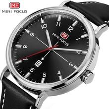 MINI FOCUS Fashion Casual Watch Men Top Brand Luxury Mens Wrist Watches Quartz Waterproof Black Leather Strap Male Clocks