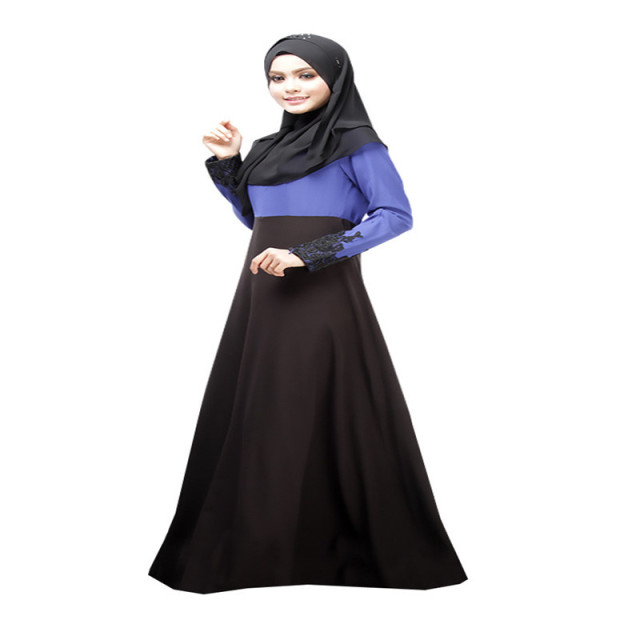 Vintage Long Sleeve Kaftan Abaya Jilbab Muslim Cocktail Women Maxi Dress M L