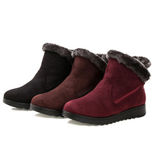 2019 Fashion Winter Shoes Women Ankle Boots Female Warm Fur Snow Flats Botas Mujer