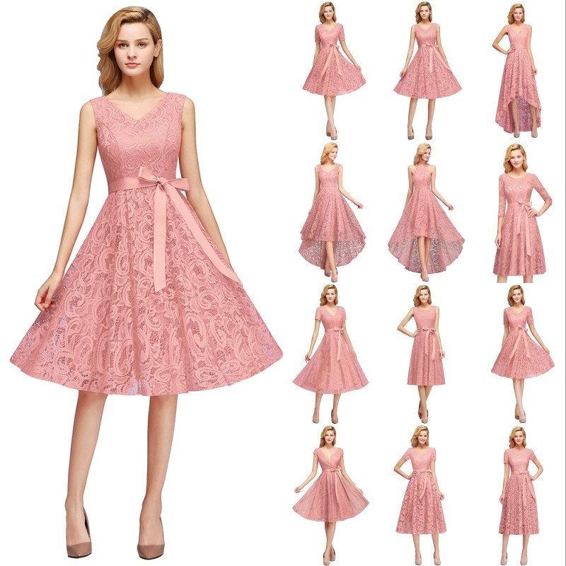 2019 Pink Lace Short Bridesmaid Dresses A Line Wedding Party Gown Vestido Madrinha In Stock 12 Styles