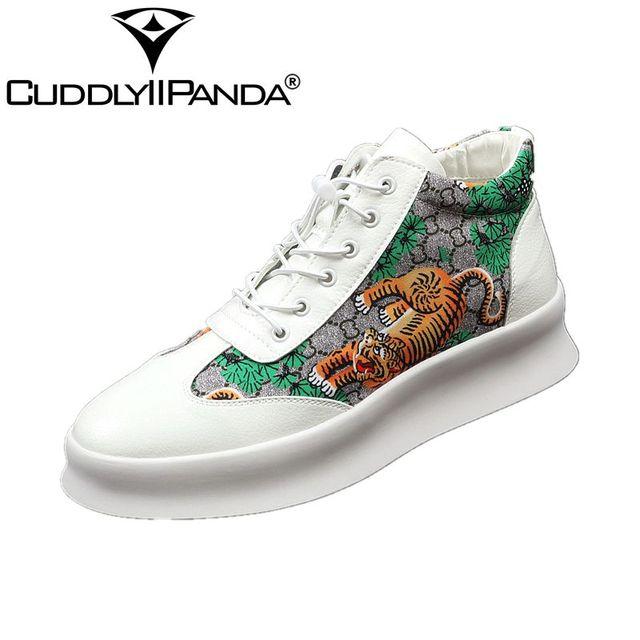 7878a732586 Приятная панда Новая роскошная брендовая мужская мода высокие кроссовки  принт Тигр Повседневная Высокая обувь мужская эластичная