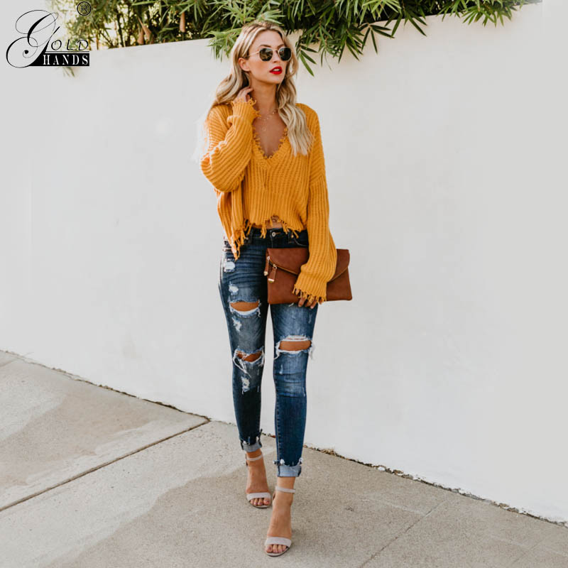 Gold Hands Autumn Women Street Wear V-neck Tassel Batwing Sleeves Pullover Sweater Female Solid Cotton Sweater Free Shipping