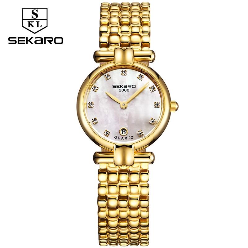 Sekaro Genuine Ladies Clock Gold Women Relojes Reloj de pulsera de - Relojes para mujeres