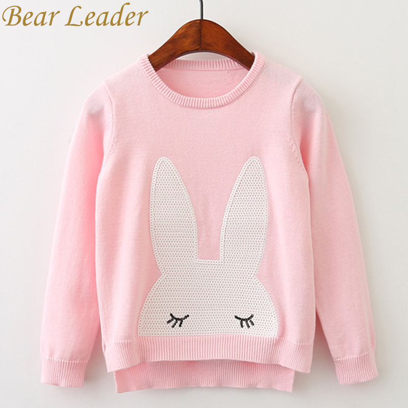 Bear Leader Girls Sweaters 2017 Winter Pullover Children Sweaters Cartoon Rabbit Long Sleeve Outerwear O-neck Kids Knitwear 3-7Y